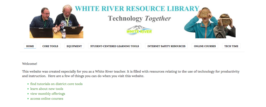 Front page of the district Instructional Technology website for teacher resources.