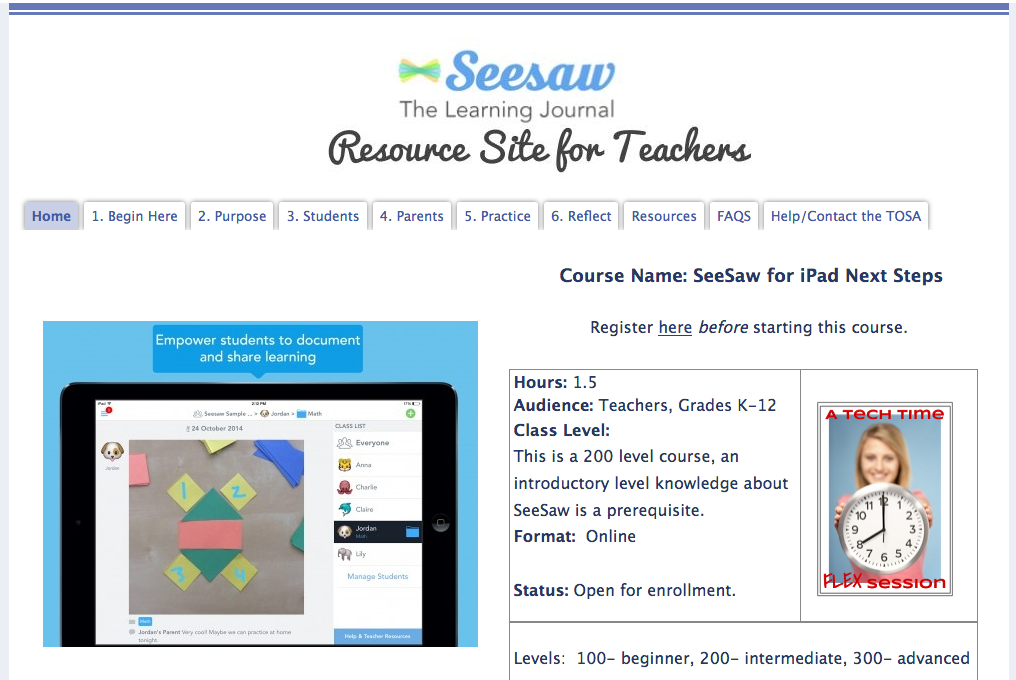 Front page of the online SeeSaw course.