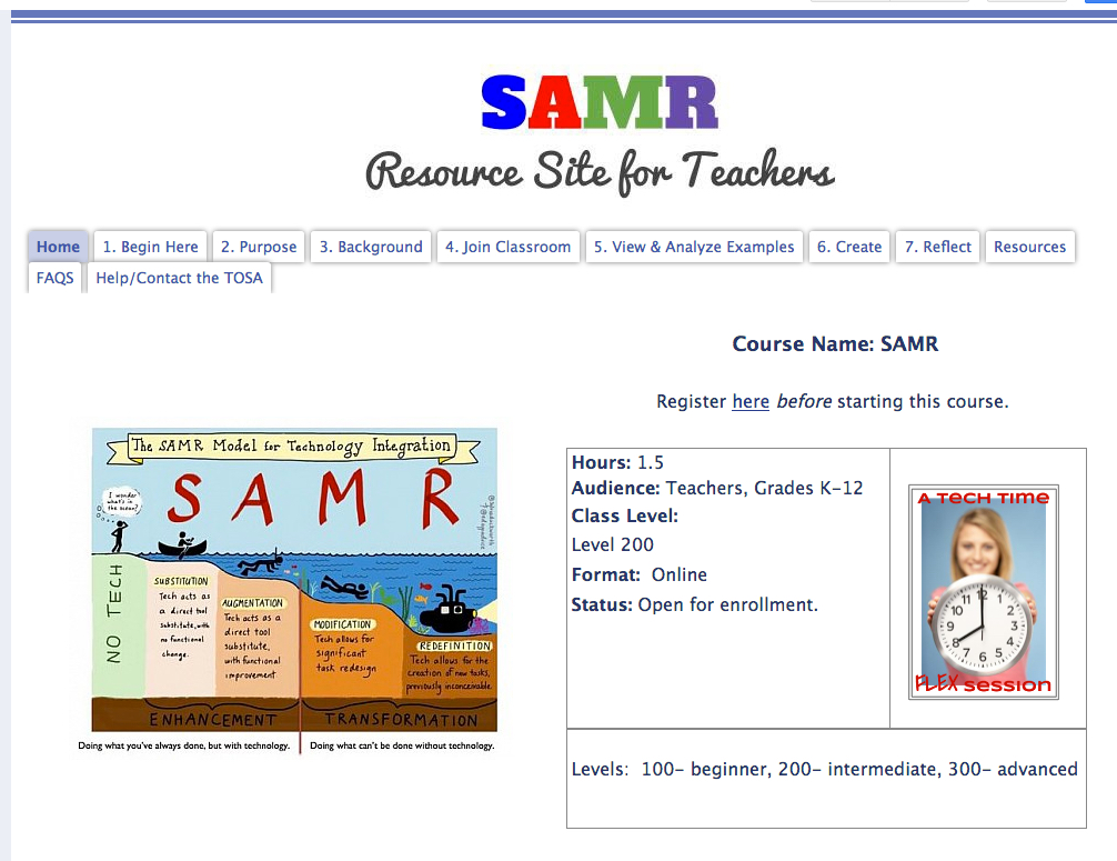 Picture of the SAMR online course framework.